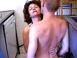 Horny mature housewife gets her ass fucked right in the kitchen