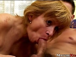 Eva's mouth filled with throbbing male flesh which goes deeper with every stroke.