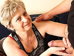 Mature wife calls a young lover and her husband joins them for a fantastic threesome scene