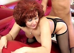 Mature mistress pleasured by her young toy-boy