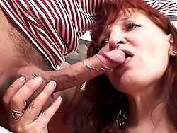 The old gal is getting fucked by her son in law and his cock is big and hard in her box