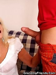 Horny mom kicks out her daughter and has sex with the two young drunken guys