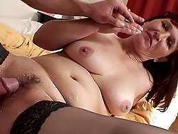 After fucking the hell out of the old babe he pulls out and cums all over her mature pussy