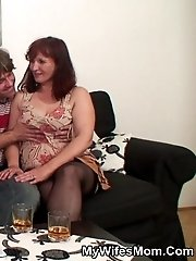 The beautiful mature makes him cum when his blonde wife couldn't manage it