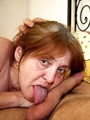 The dirty granny goes home with him after a jog and he fucks her on the bed and fucks her hard