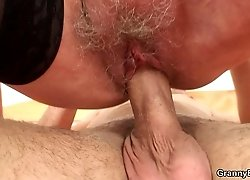 The hot grandma and her young lover engage in beautiful hardcore and his cock is the best