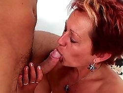 The young man makes his lusty mature lover feel good with a nice big cock stick