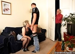 Mature slut cheats on her husband and he ends up joining them for the hardcore scene
