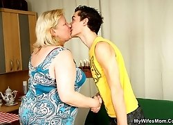 The naughty granny craves cock and he delivers a hard banging for her wrinkled pussy